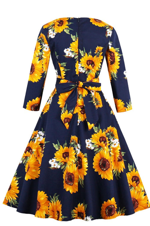 Day A-line Crewneck Long Sleeve Midi Floral Dress - ATLASDAY
