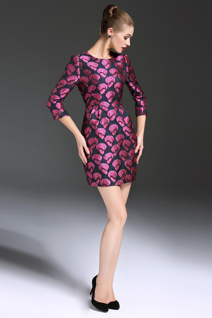 Party Fitted Crewneck Elbow Sleeve Micro Printed Dress - ATLASDAY