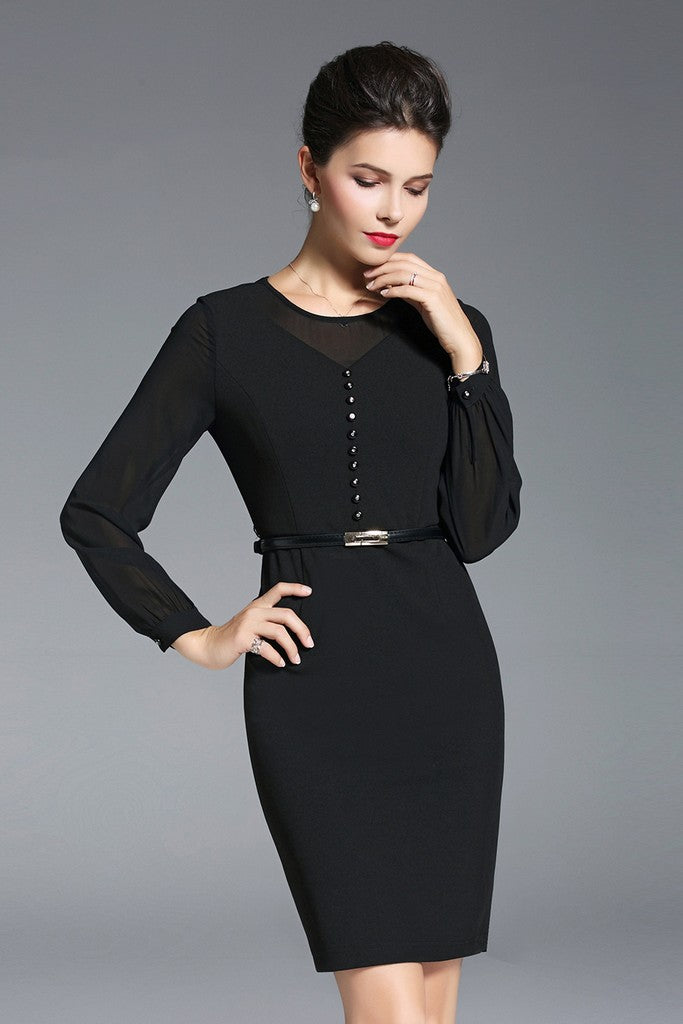 Office Fitted Crewneck Long Sleeve Above Knee Buttoned Dress - Dresses