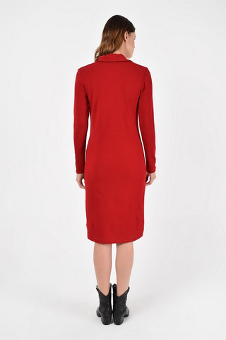 Day Red Wool Bodycon Crewneck Long Sleeve Knee Dress