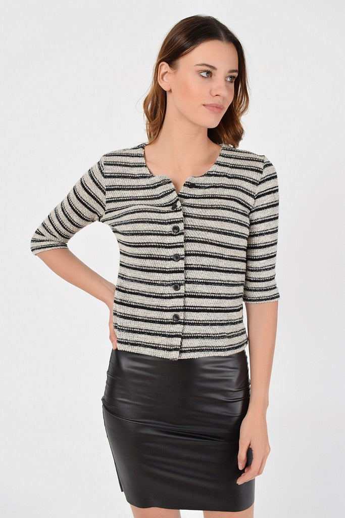 Day Crewneck Elbow Sleeve Striped Buttoned Cardigan - Cardigans