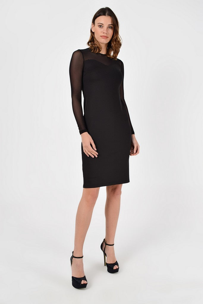 Evening Fitted Crewneck Long Sleeve Knee Black Dress