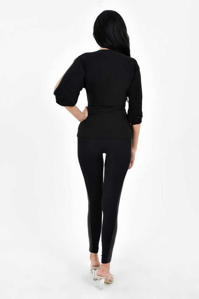 Black Party Maxi Leggings with Strip - Pants