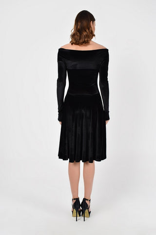 Evening A-line Off The Shoulder Long Sleeve Knee Black Velvet Dress