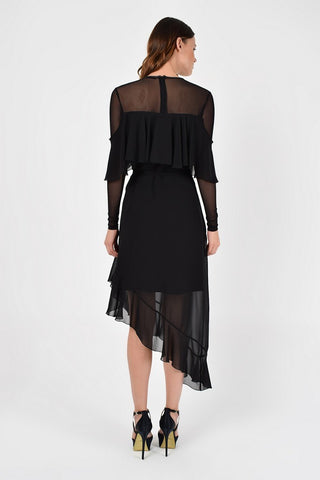 Evening Asymmetric Crewneck Long Sleeve A-line Black Ruffled Maxi Dress