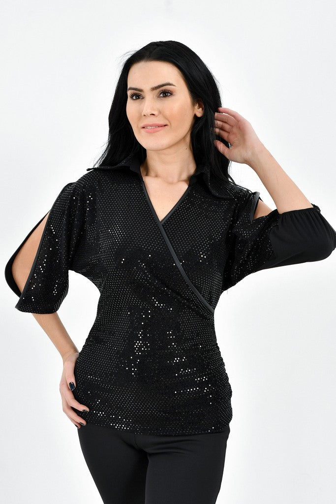 Evening or Party Black Shirt Colar Elbow Sleeve Blouse