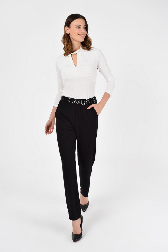 Party Pegged Black Pants with Pockets - Pants