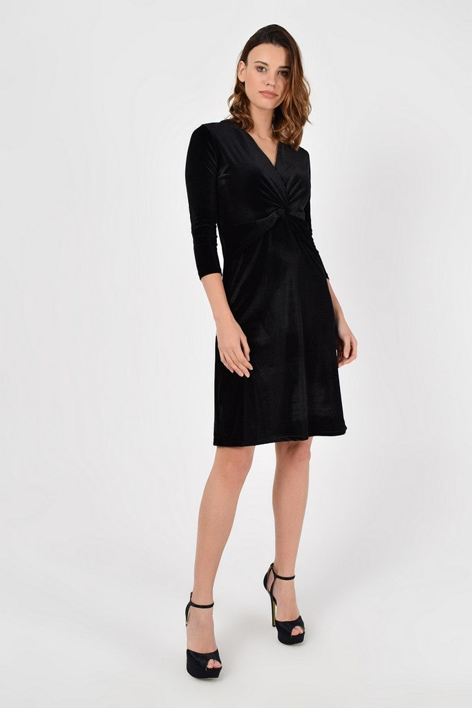 Evening Black A-line V-neck Elbow Sleeve Above Knee Dress - Dresses