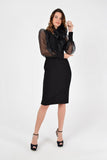 Evening Black Bishop Long Sleeve Bodycon Knee Dress - Dresses