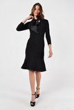 Evening Black A-line Bow Neck Bracelet Above Knee Elegant Dress - Dresses