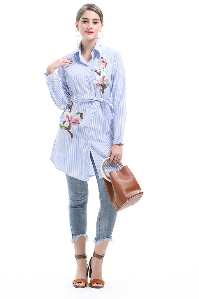 Day Blue Striped Embroidery Buttoned Shirt - Shirts