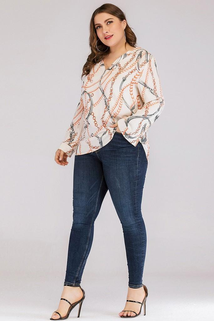 Apricot & Multicolor Printed Blouse - Blouses