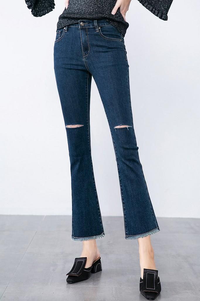Boot-Cut Blue Jeans - Pants