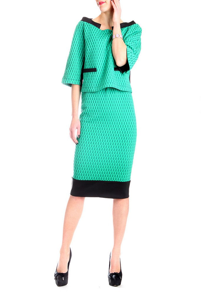 Day Green Printed Set (Elbow Sleeve Top & Skirt) - Suits