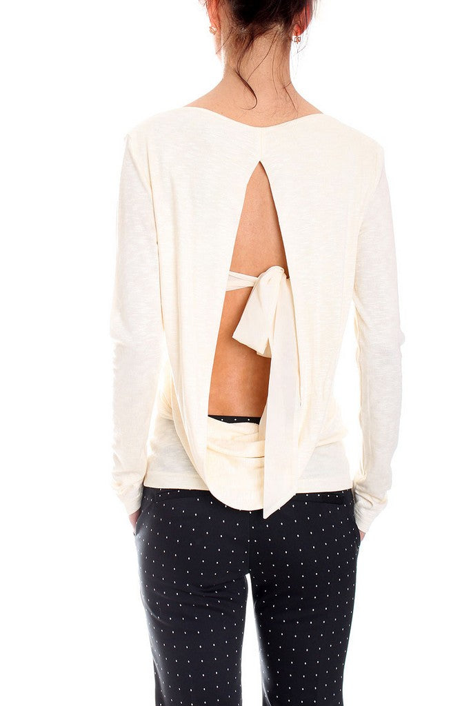 Elegant White Day Long Sleeve Boatneck Blouse - Blouses