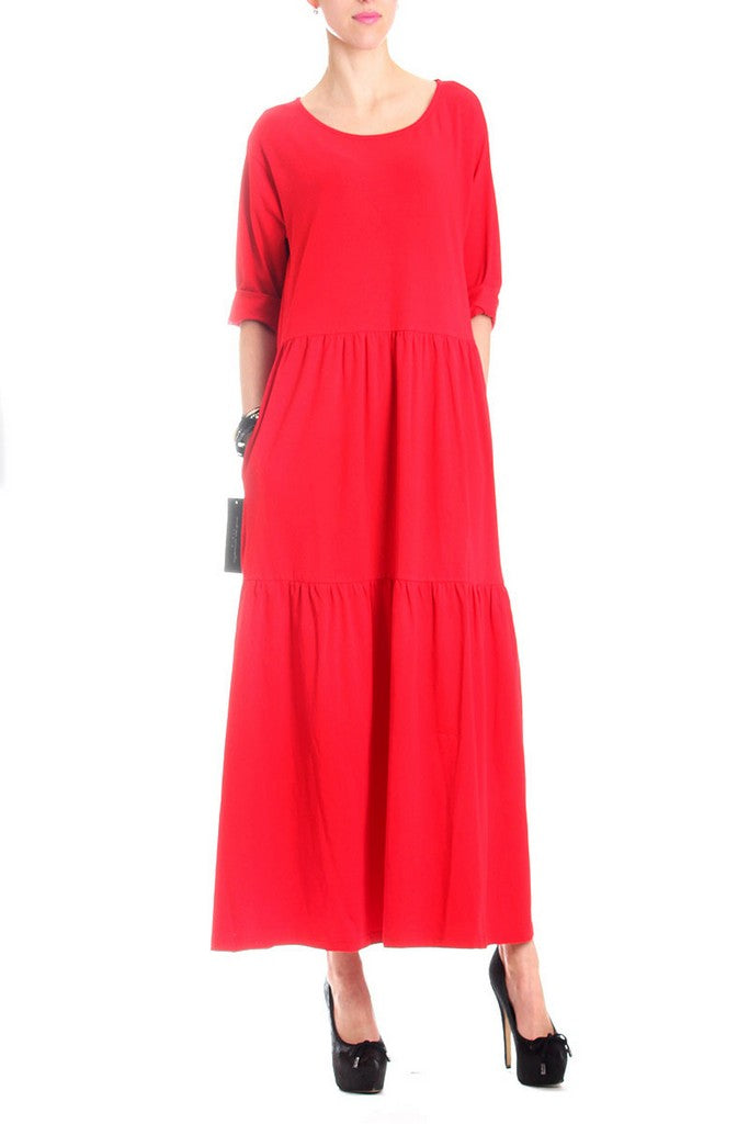 Red Cotton Casual Bracelet Sleeve Tent Crewneck Tea Ruffled  Dress - Dresses