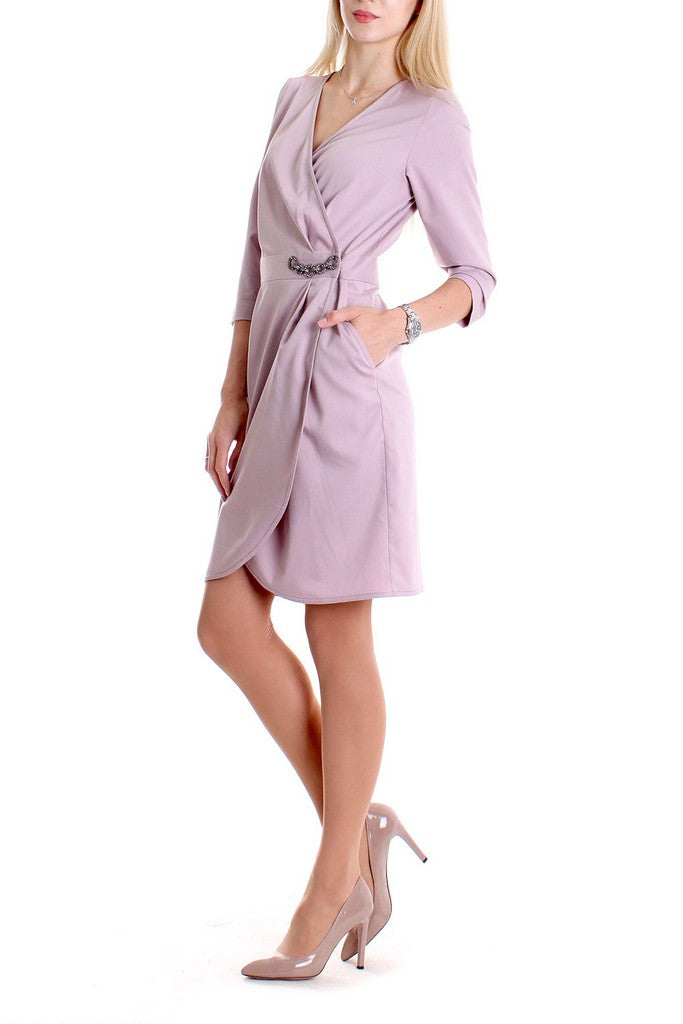 Pink Day Wrapped V-neck 3/4 Sleeves Above Knee Dress - Dresses