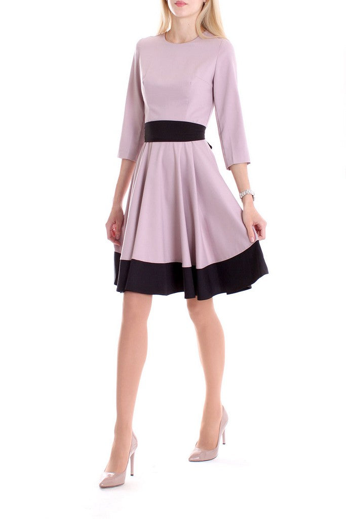 Pink Day Cotton A-line Crewneck Elbow Sleeve Above Knee Dress - Dresses