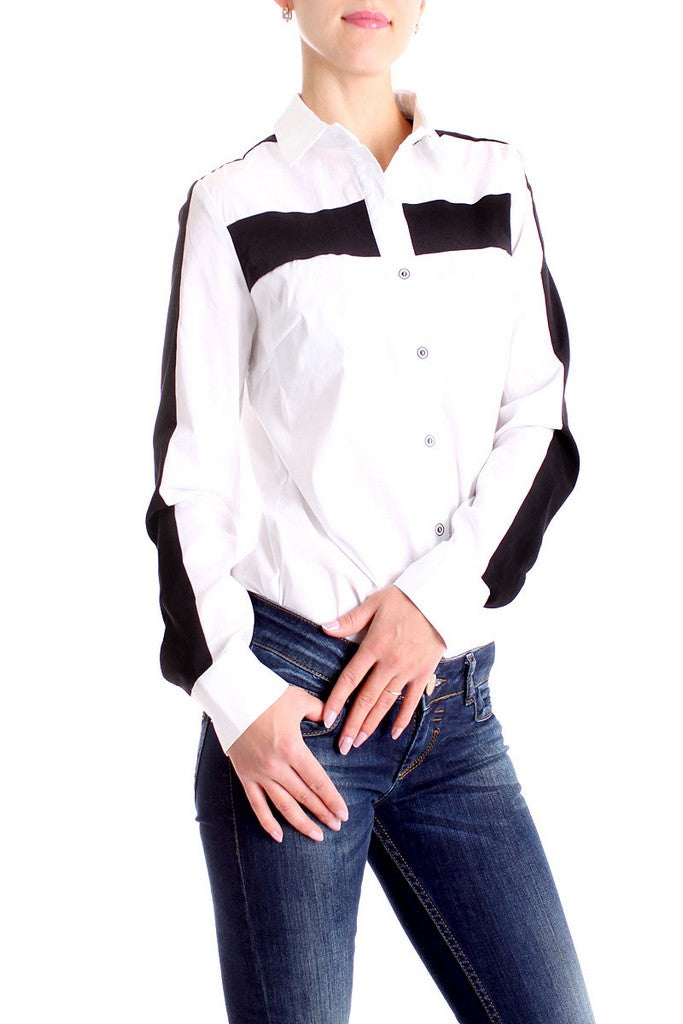 White Day Shirt Colar Long Sleeve Cotton Blouse - Blouses