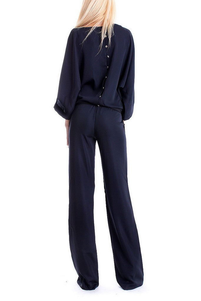 Office Navy Boatneck Cap 3/4 Sleeves Jumpsuit with Belt - Jumpsuits