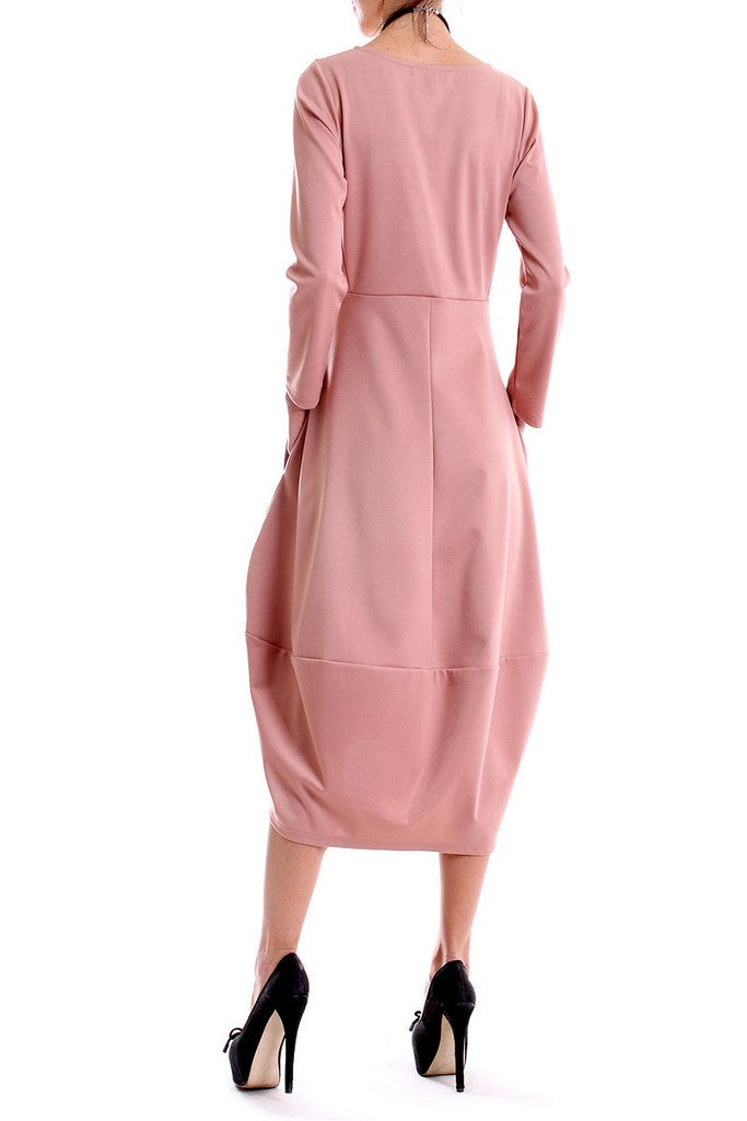 Pink Cocktail A-line Long Sleeve Crewneck Maxi Dress - Dresses