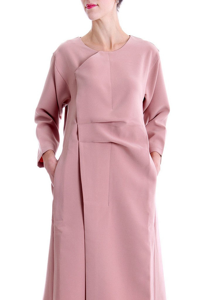 Pink Day Cotton Crewneck H-line Long Sleeve Knee Dress - Dresses