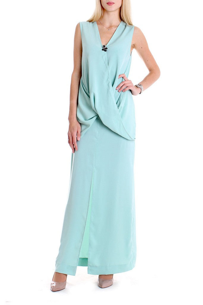 Evening Mint H-line Ruffled V-neck Sleeveless Ankle Dress - Dresses