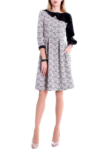 A-Line Crewneck 3/4 Sleeve Midi Day Dress