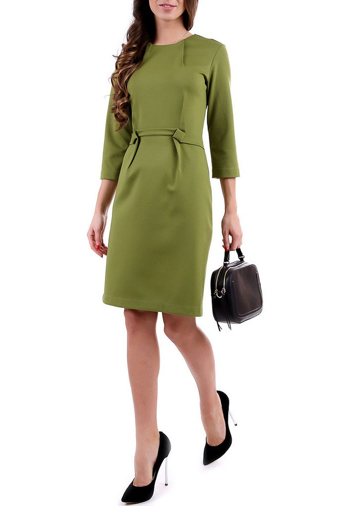 Green Office 3/4 Sleeves Bodycon Crewneck Knee Dress - Dresses