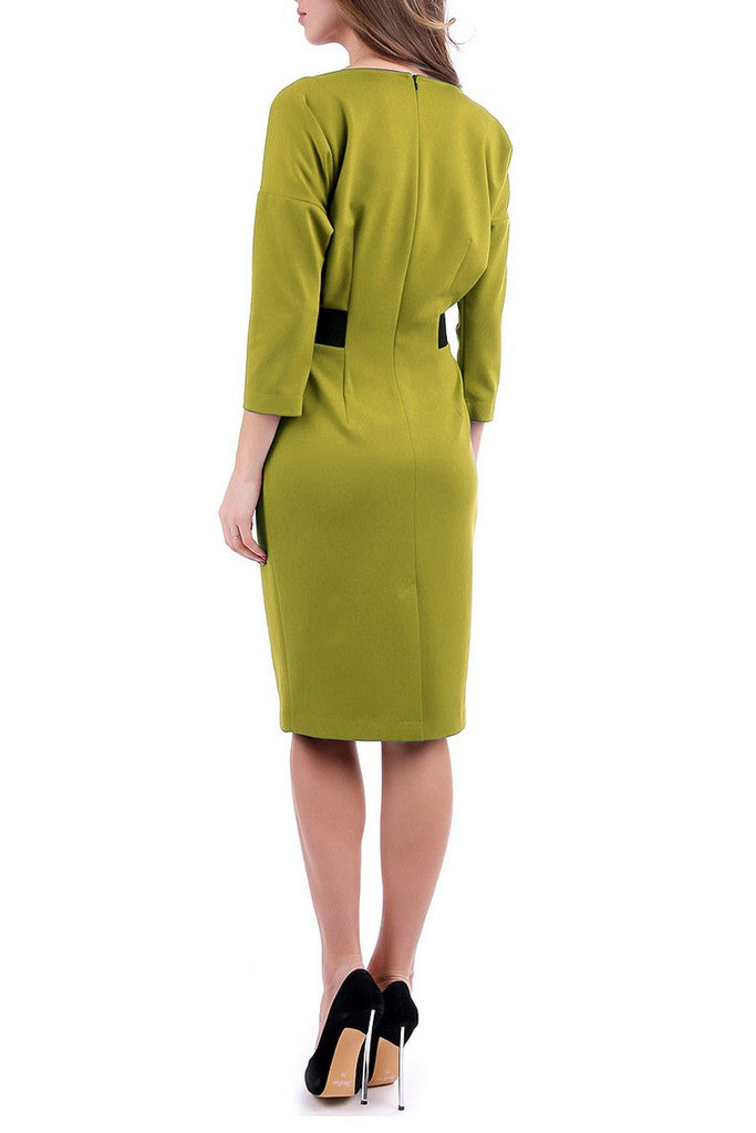 Mustard Office 3/4 Sleeves Bodycon Boatneck Knee Dress - Dresses