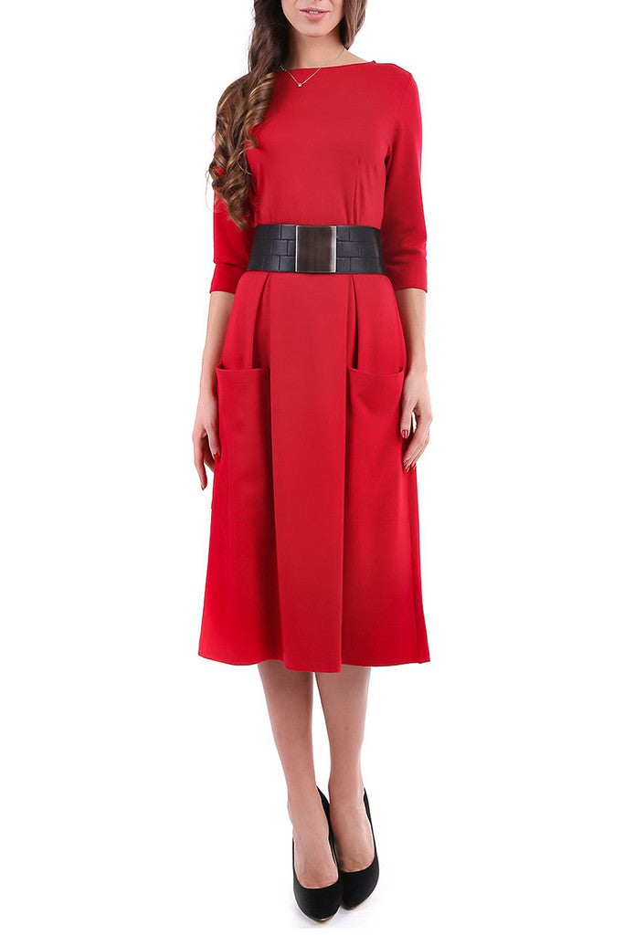 Red Office Bracelet Sleeve A-line Boatneck Maxi Dress with Pockets - Dresses