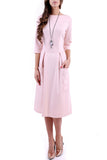 Pink Office Bracelet Sleeve A-line Boatneck Maxi Dress with Pockets - Dresses