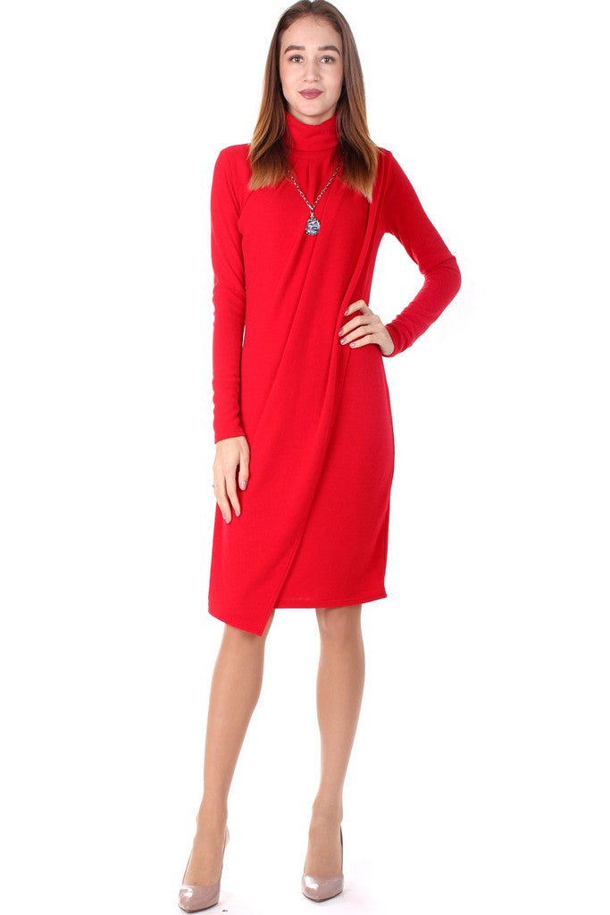 Red Evening Long Sleeve Bodycon High Neck Above Knee Dress - Dresses
