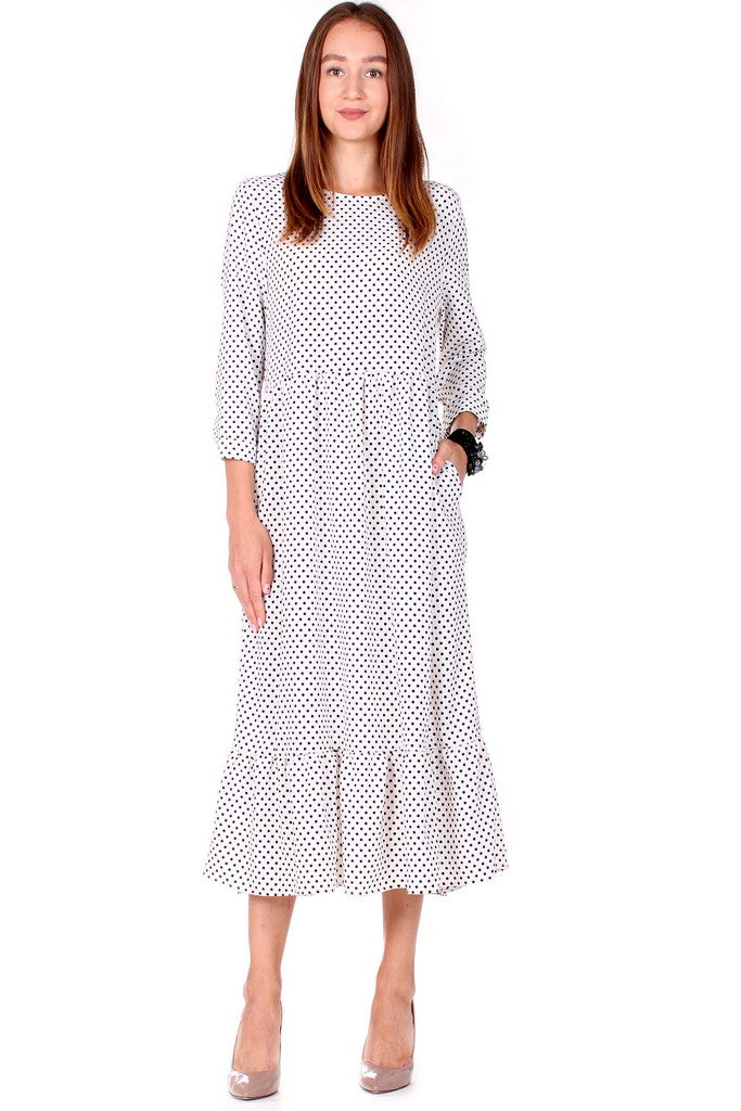 White Polka Dot Day Bracelet Sleeve A-line Crewneck Maxi Dress - Dresses