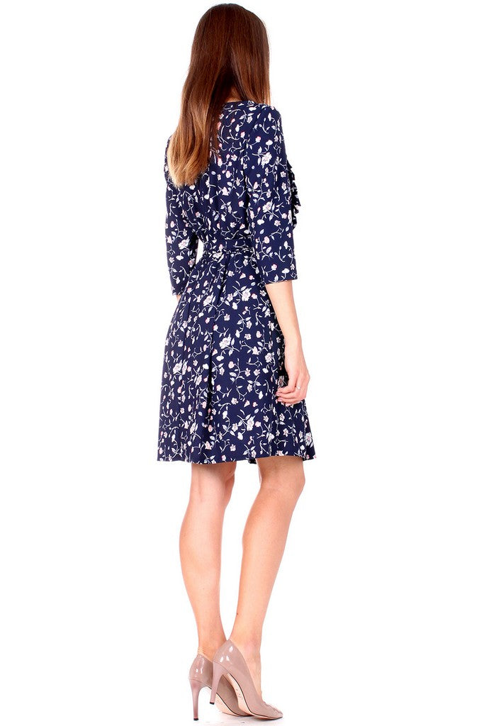 Navy Printed Day Elbow Sleeve A-line Boatneck Above Knee Ruffled Dress - Dresses