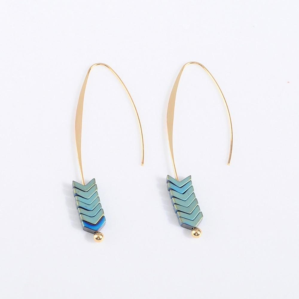 Gold & Blue Earring - Earrings