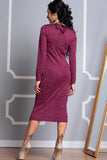 Vinous Crimson Office Dress