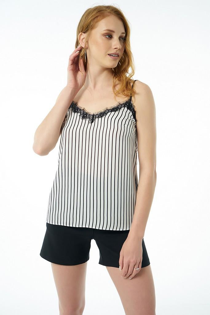 White Striped Top - Tops