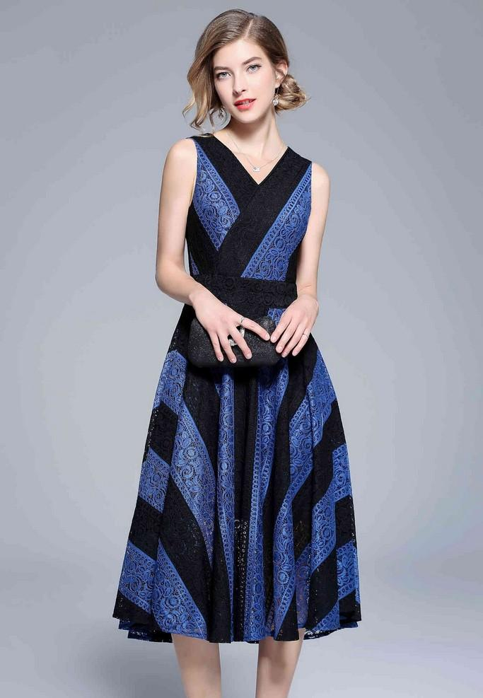 Cocktail Striped Dress - Dresses