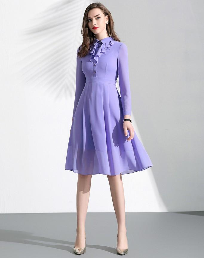 Frill Neck Day Dress - Dresses