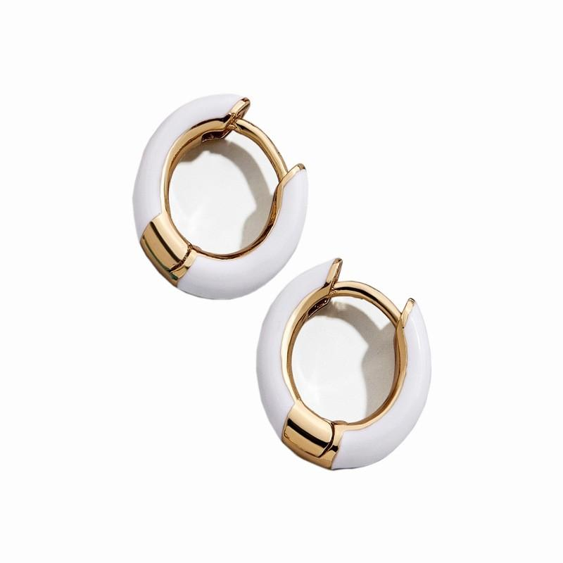 Gold & White Earring - Earrings