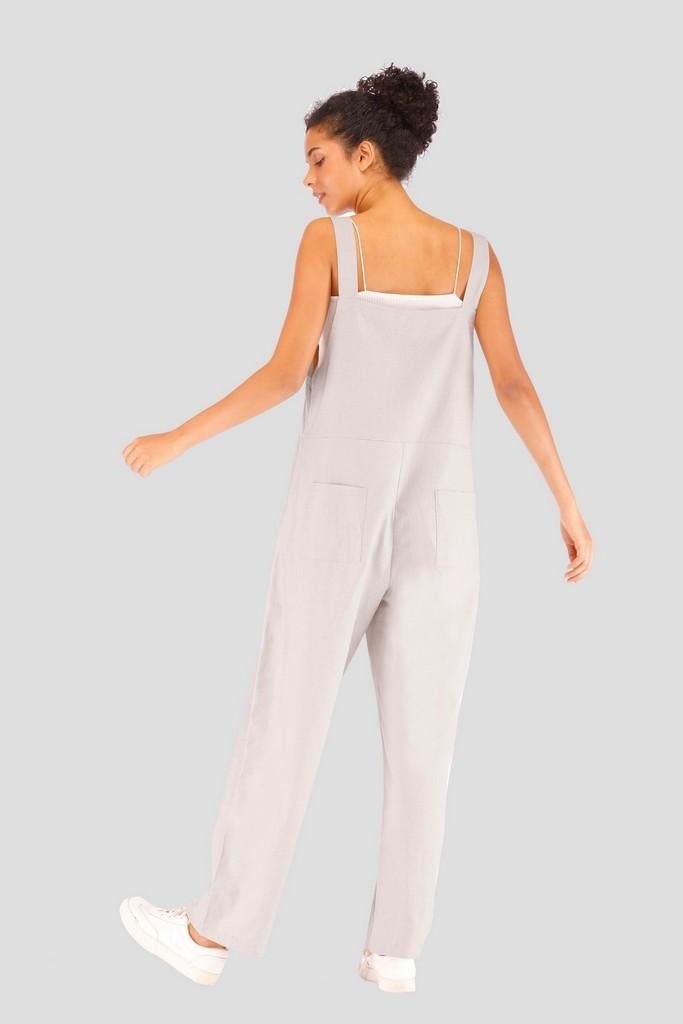 Casual Strap Long Cotton Jumpsuit with Pocket - Jumpsuits