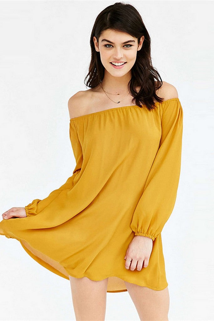 Yellow Сocktail Party Tent Off The Shoulder Bishop Long Sleeve Micro Dress - Dresses