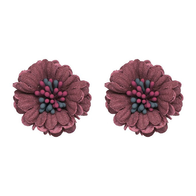 Multicolor Floral Stud Earrings - Earrings