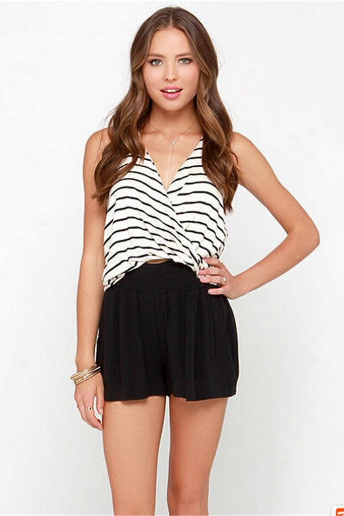 White & Black Stripes Day Summer Strappy Short Striped Top - Tops