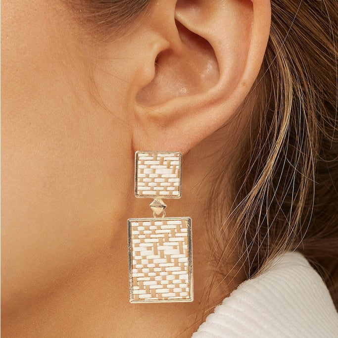 Earrings with Rattan Elements - Earrings