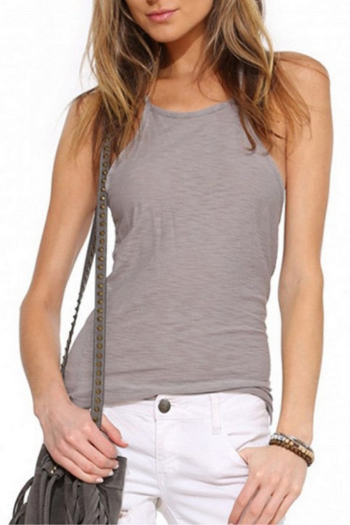 Gray Day Halter Neck Sleeveless Summer Top - Tops
