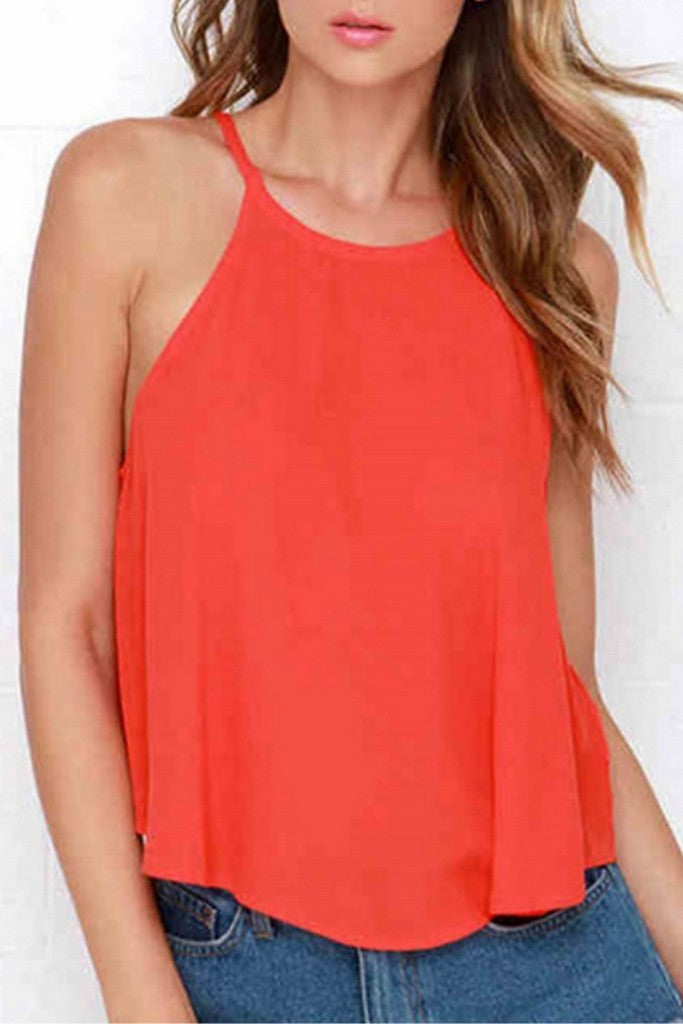 Orange Сocktail & Party A-line Crewneck Sleeveless Top - Tops