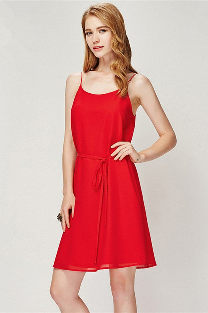 Red Evening Сocktail A-line Strap Short Classic Dress with Belt - Dresses