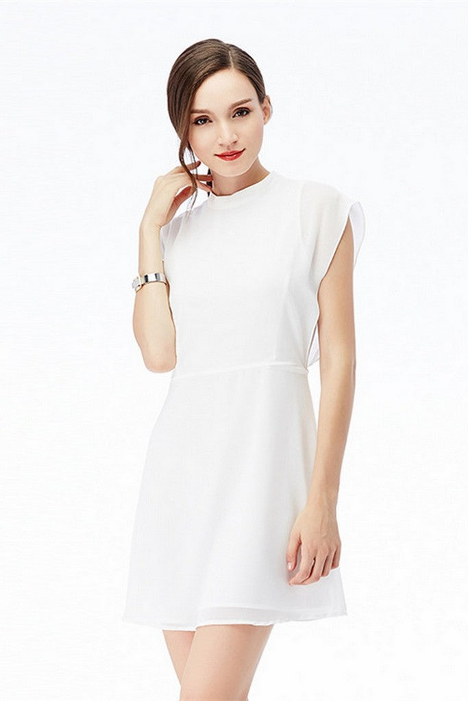 White Evening A-line High Neck Sleeveless Mini Dress - Dresses